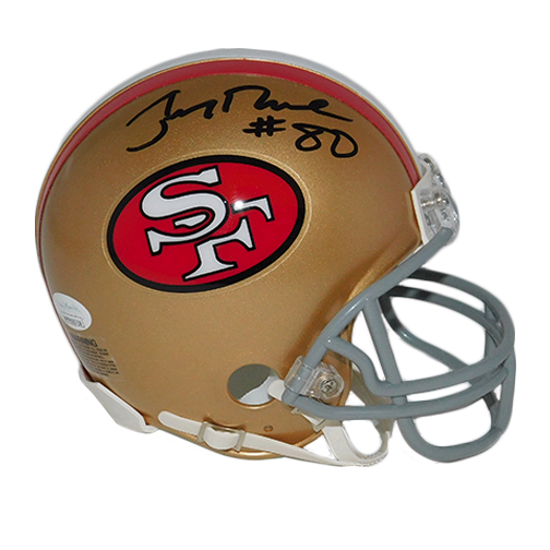 Jerry Rice Autographed Replica Football Mini Helmet (JSA)