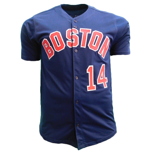Jim Rice Autographed Boston Pro Style Baseball Throwback Jersey Blue (JSA)