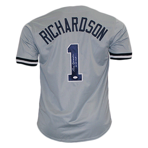 Bobby Richardson New York Autographed Baseball Pro Style Jersey Grey (JSA COA) WS MVP 1960 Inscription