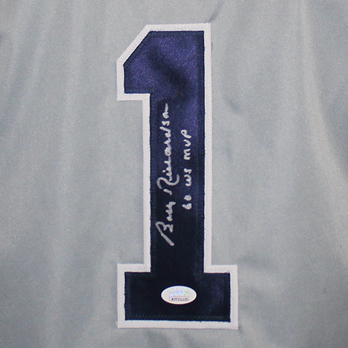 Bobby Richardson New York Autographed Baseball Pro Style Jersey Grey (JSA) WS MVP 1960 Inscription