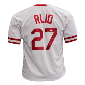 Jose Rijo Autographed Special Throwback Pro Style Baseball Jersey White (JSA COA)