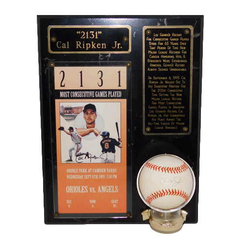 "Cal Ripken Jr. ""2131"" Record-Breaking Plaque w/ Autographed Baseball & Stand (JSA)"