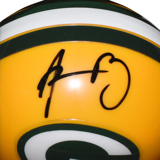 Aaron Rodgers Signed Green Bay Packers Mini Replica Yellow Football Helmet (JSA)