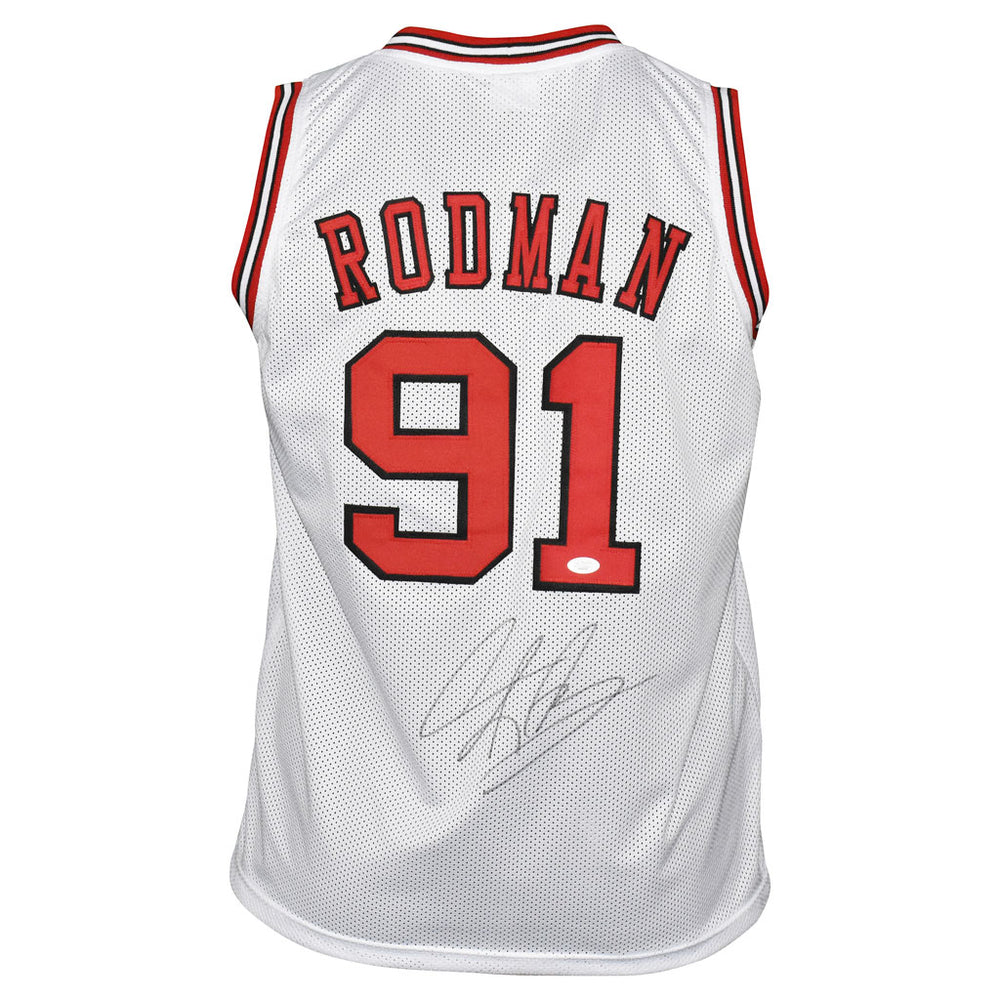 Dennis Rodman Signed Chicago White Basketball Jersey (JSA)