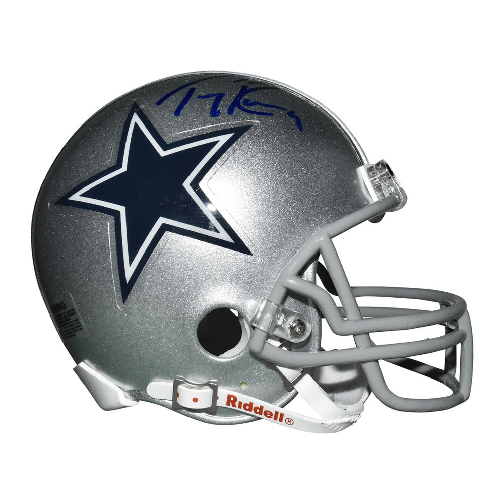 Tony Romo Signed Dallas Cowboys Mini Replica Silver Football Helmet (JSA)