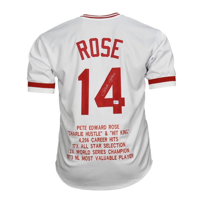Pete Rose Signed Stats Cincinnati Pro Edition White Jersey (Fiterman)