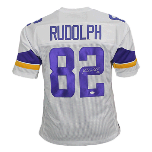 release date 9dae9 a067d Kyle Rudolph Autographed Pro Style Football Jersey White (JSA COA)