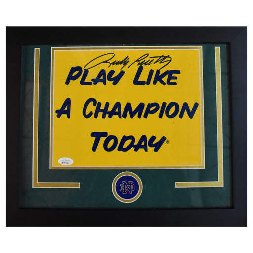Rudy Ruettiger Signed Framed 8x10 Play Like a Champion Photograph (JSA)