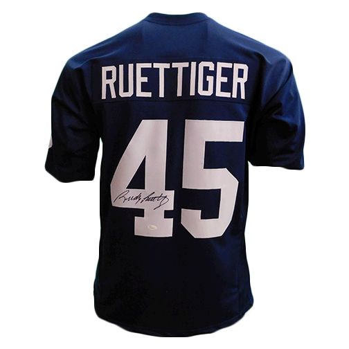 Rudy Ruettiger Autographed College Style Football Jersey Blue JSA