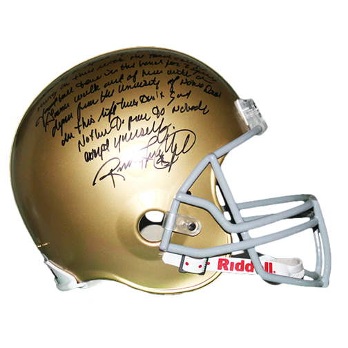 Rudy Ruettiger Notre Dame Full Size Football Helmet w/ Paragraph Inscription! JSA