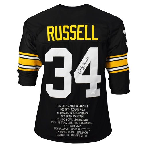 Andy Russell Signed Pro-Edition Black Stats Football Jersey (JSA)