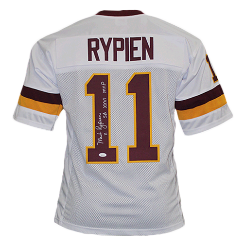 Mark Rypien Autographed Pro Style Football Jersey White (JSA COA) SB Inscription Included