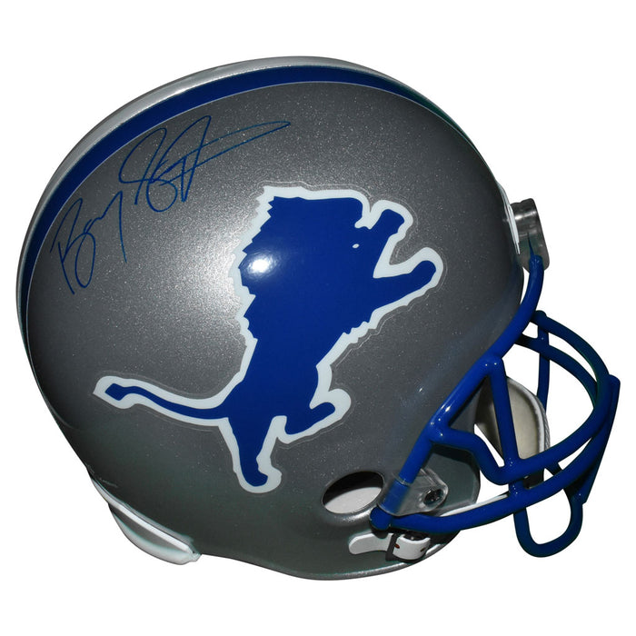 Barry Sanders Signed Detroit Lions Full-Size Replica Silver Football Helmet (JSA)