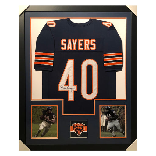sayers bears blue autographed framed football jersey