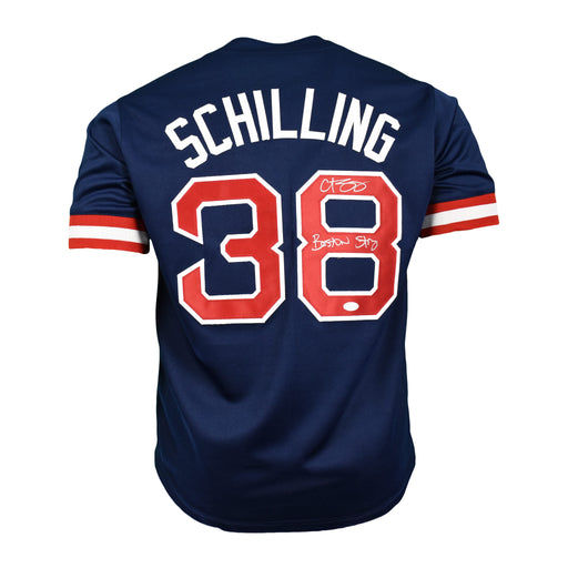 "Curt Schilling Signed Pro-Edition Blue Jersey ""Boston Strong"" Inscription (JSA)"