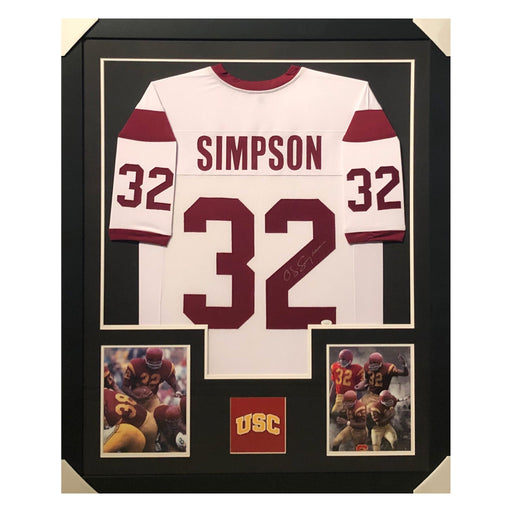 simpson trojans white autographed framed football jersey