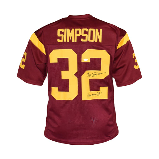 OJ Simpson Signed College Edition Maroon Football Jersey (JSA) Heisman '68 Inscription Included