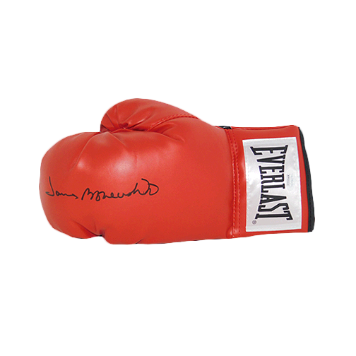 "James ""Bone Crusher"" Smith Autographed Red Boxing Glove JSA"
