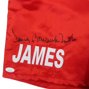 "James ""Bone Crusher"" Smith Autographed Boxing Trunks Red JSA Authenticated MISC"