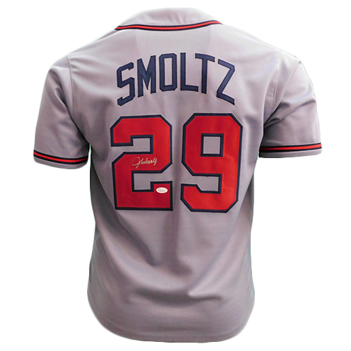 John Smoltz Autographed Atlanta Throwback Grey Baseball Jersey (JSA)