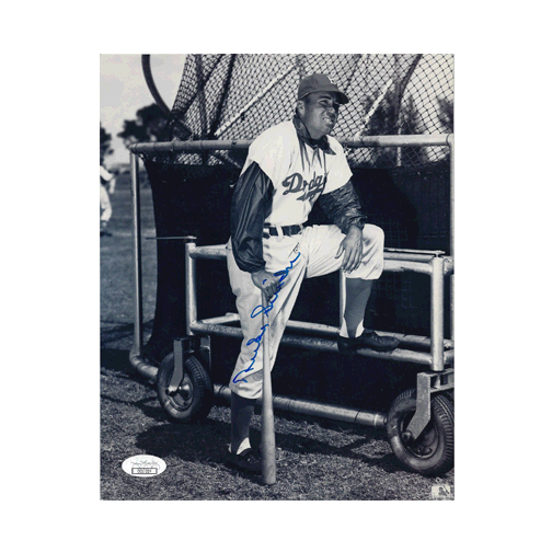Duke Snider Brooklyn Dodgers Autographed Baseball 8 x 10 Photo (JSA COA) Pose 2