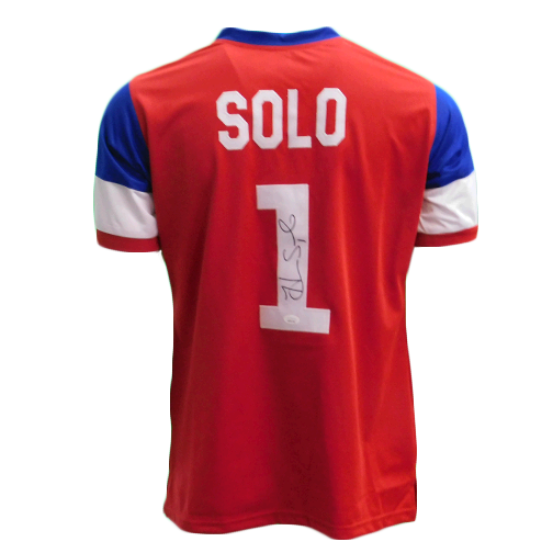 Hope Solo Autographed USA Red/White/Blue Soccer Jersey (JSA COA)