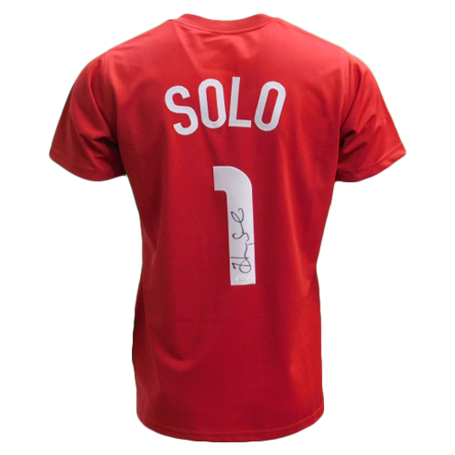 Hope Solo Autographed USA Soccer Jersey Red (JSA)