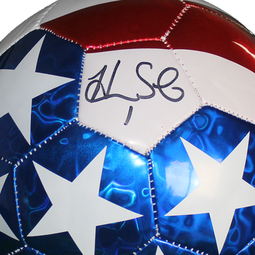 Hope Solo Autographed USA Flag Soccer Ball JSA