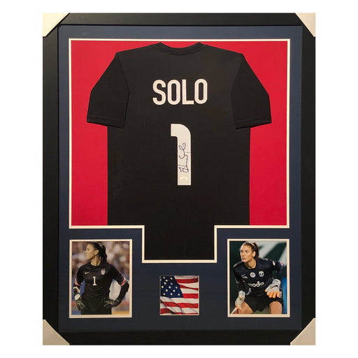 solo team usa black autographed framed soccer jersey