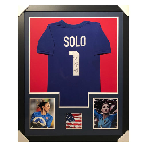solo team usa blue autographed framed soccer jersey