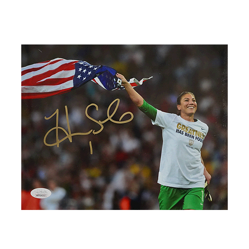 Hope Solo Signed Team USA Flag Run 8x10 Photo (JSA)