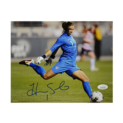 Hope Solo Signed Team USA Goal Kick 8x10 Photo (JSA)