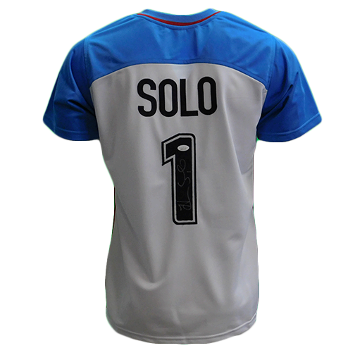 Hope Solo Autographed USA Soccer Jersey Blue and White (JSA COA)