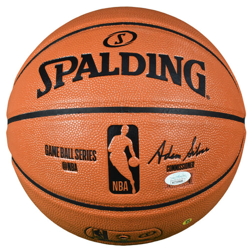 George Gervin Signed HOF 96 Inscription Spalding NBA Game Series Basketball (JSA)