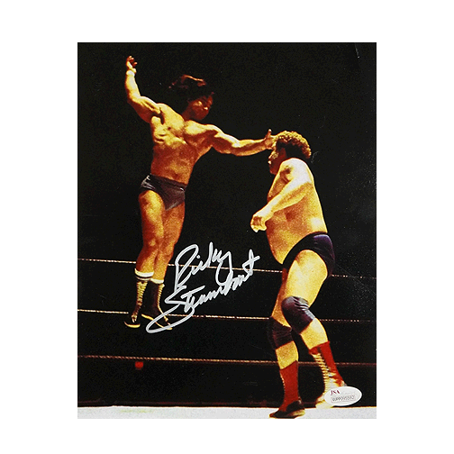 Ricky Steamboat Signed Pro Wrestling Flight 8x10 Photo (JSA)