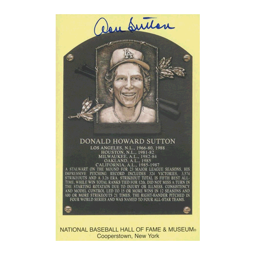 DON SUTTON AUTOGRAPHED HALL OF FAME POSTCARD JSA AUTHENTICATED!