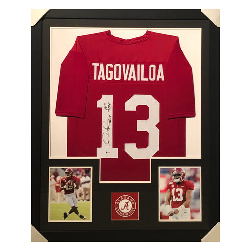 tagovailoa crimson tide roll tide red autographed framed football jersey