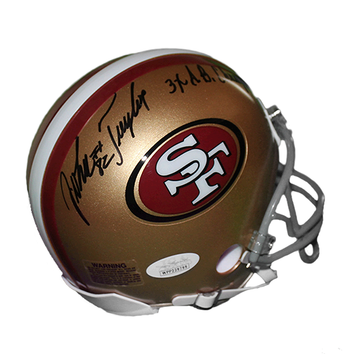 John Taylor San Francisco 49ers Autographed Football Mini Helmet (JSA) 3 x Super Bowl Champ Inscription