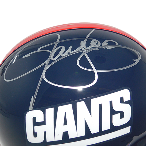 Lawrence Taylor New York Giants Autographed Full Size Replica Football Helmet Blue (JSA COA) HOF Inscription