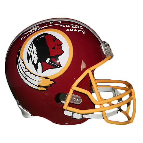 Joe Theismann Autographed Washington Redskins Full Size Replica Football Helmet (JSA COA) Super Bowl Champs Inscription