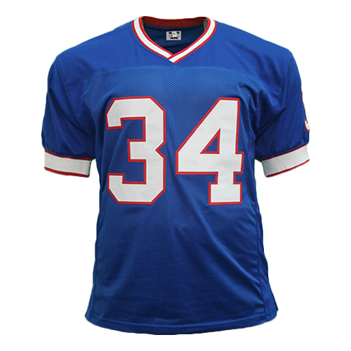 Thurman Thomas Autographed Pro Style Football Blue Jersey JSA