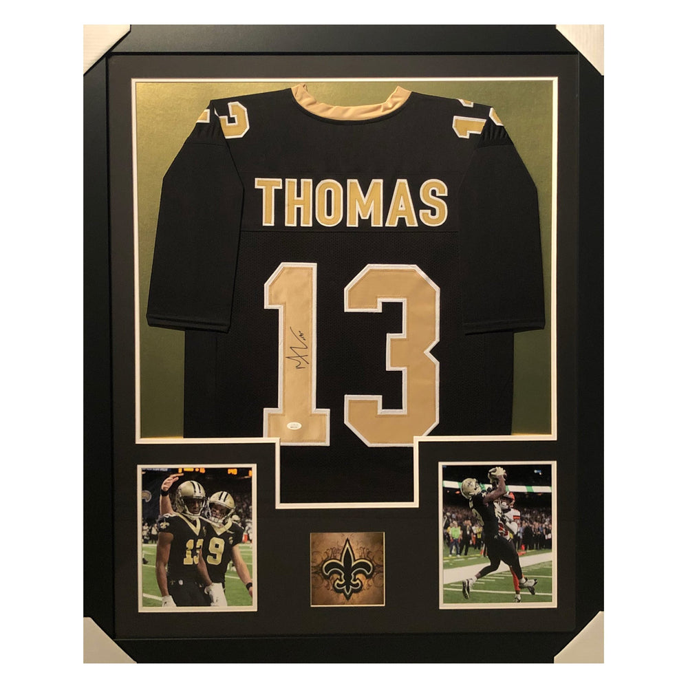 thomas saints black autographed framed football jersey