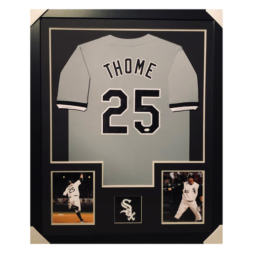 thome white sox grey autographed framed baseball jersey