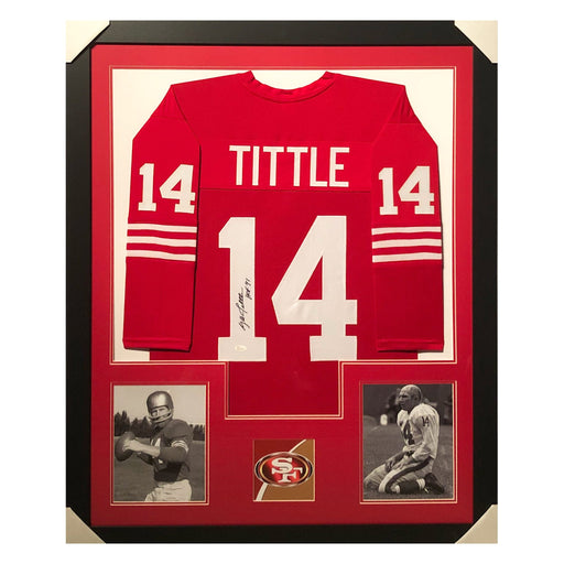 tittle 49ers hof 71 throwback red autographed framed football jersey