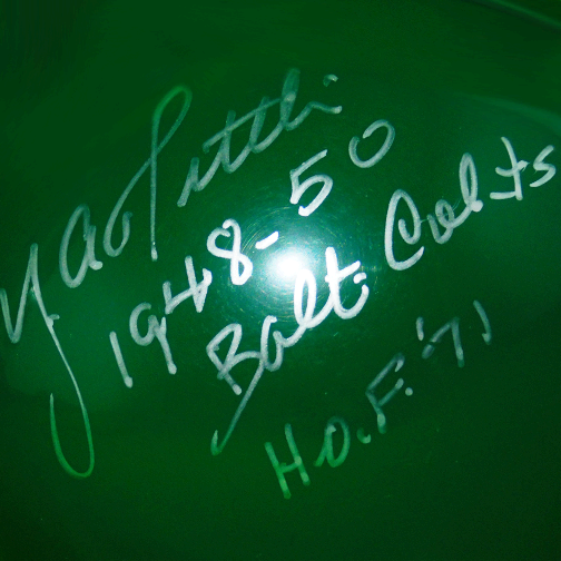 Y.A. Tittle Signed HOF '71 1948-50 Balt Colts in Silver Riddell Green Mini Helmet (JSA)