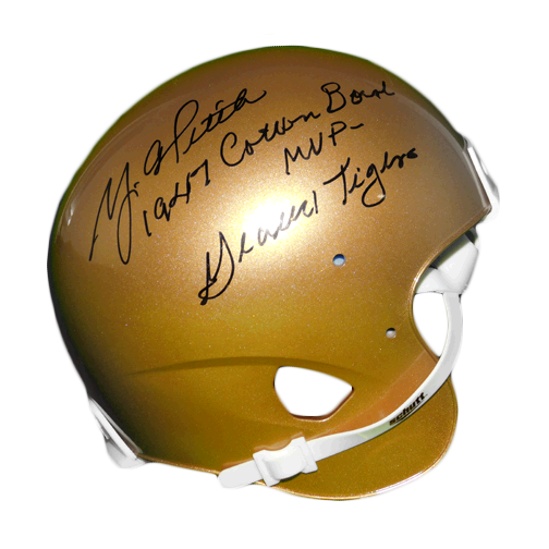 Y.A. Tittle Signed 1947 Cotton Bowl MVP Geaux Tigers Riddell Gold Mini Helmet (JSA)