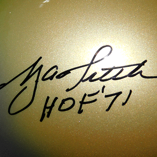 Y.A. Tittle Signed HOF '71 Gold Mini Helmet (JSA)