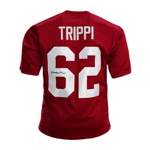 Charley Trippi Signed Pro Edition Football Jersey Red (JSA)