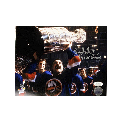 Bryan Trottier Autographed Stanley Cup 8 x 10 Photo (JSA) 4x Stanley Cup Champs Inscription Included
