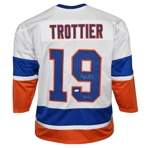 Bryan Trottier Signed HOF 97 Inscription New York White Hockey Jersey (JSA)